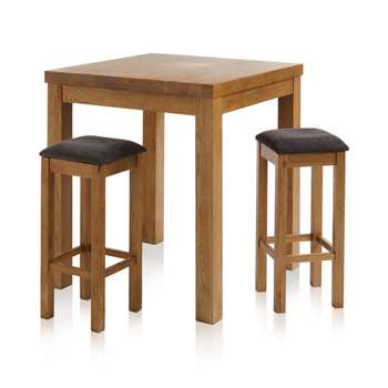 Rhodes Rustic Solid Oak 3ft Breakfast Table with 2 Bar Stools, Plain Charcoal (H100 x W90 x D90cm)