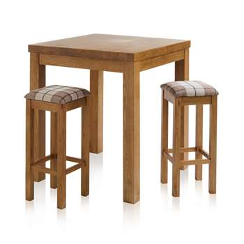 Rhodes Rustic Solid Oak 3ft Breakfast Table with 2 Bar Stools, Plain Check Brown (H100 x W90 x D90cm)