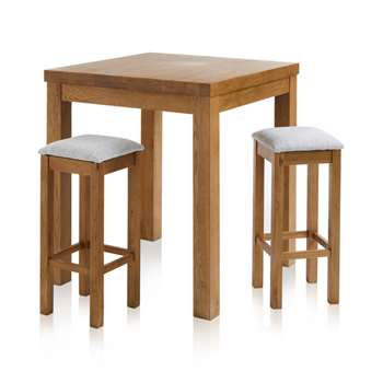 Rhodes Rustic Solid Oak 3ft Breakfast Table with 2 Bar Stools, Plain Grey (H100 x W90 x D90cm)
