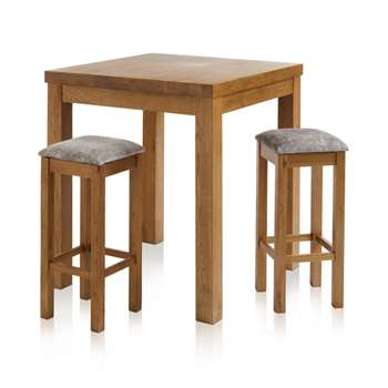 Rhodes Rustic Solid Oak 3ft Breakfast Table with 2 Bar Stools, Plain Truffle (H100 x W90 x D90cm)
