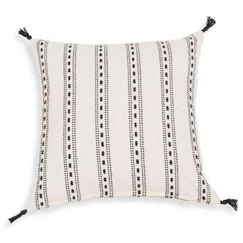 RHODES white cotton cushion cover with black motifs (40 x 40cm)