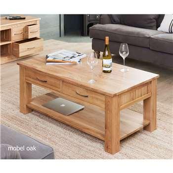 Rhone Solid Oak 4 Drawer Coffee Table (46 x 120cm)