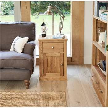 Rhone Solid Oak One Door One Drawer Lamp Table (H66 x W45 x D35cm)