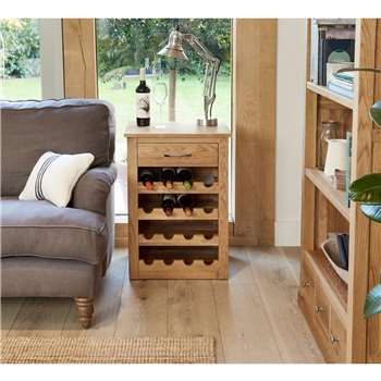 Rhone Solid Oak Wine Rack Lamp Table (H75 x W53 x D40cm)