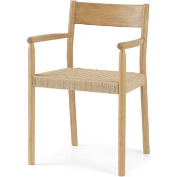 Rhye Woven Carver Dining Chair, Oak (H81 x W52 x D52cm)