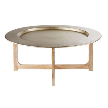 RIAD Solid Mango Wood and Hammered Aluminium Coffee Table (36 x 90)