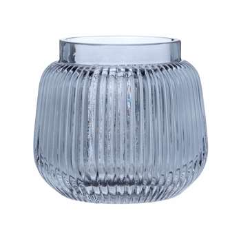 Ribbed Glass Vase (H12 x W12.5 x D12.5cm)