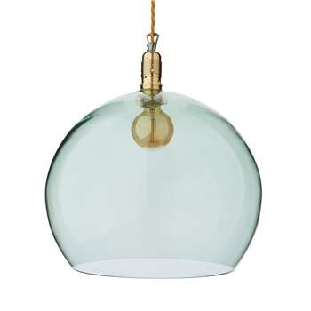 Ribe Large Pendant Lamp, Light Green & Gold 39 x 39cm