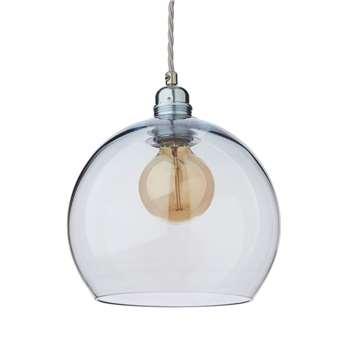 Ribe Pendant Lamp, Light Blue & Silver (H22 x W22 x D22cm)