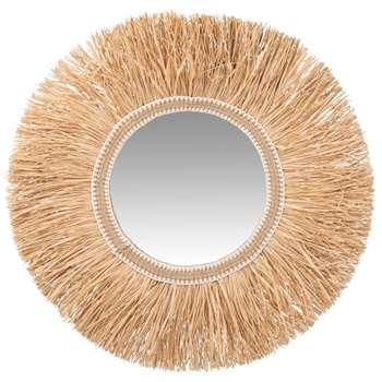 RIBOLLA - Round Raffia Mirror (Diameter 60cm)