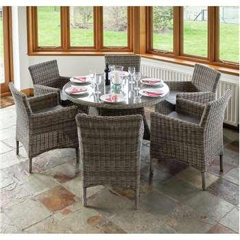 Richmond Rattan Garden Dining Set with 6 Chairs (75 x 120cm)