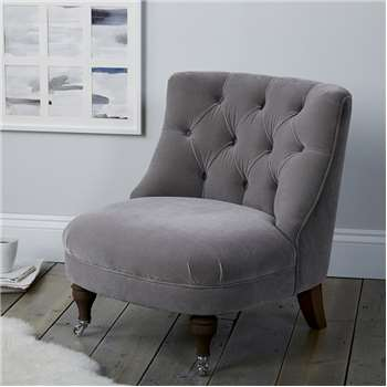 Richmond Velvet Tub Chair, Silver Grey Velvet (H74 x W64 x D72cm)