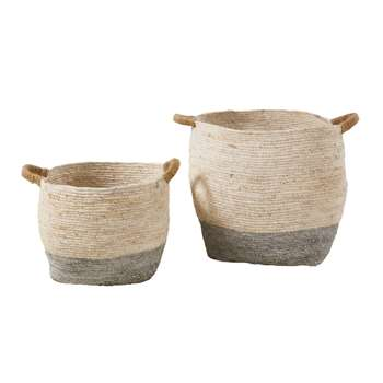 RIGA 2 Seagrass Baskets in Beige and Grey (H40 x W46 x D46cm)