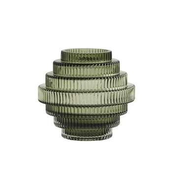 Rill Glass Vase Green, Small (H16 x W16 x D16cm)