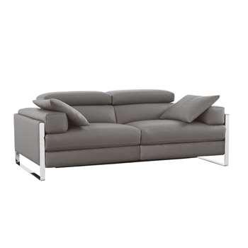 Rimini reclining leather medium sofa grey (H67 x W178 x D107cm)