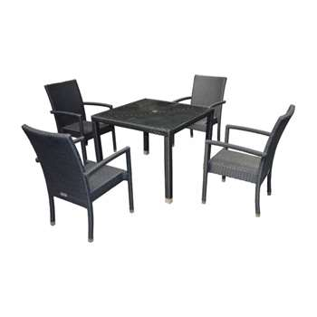 Rio  4 Chairs And Open Leg Square Table Set in Black (72 x 90cm)
