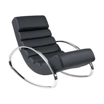 Ripple rocker with chrome legs black (70 x 62cm)