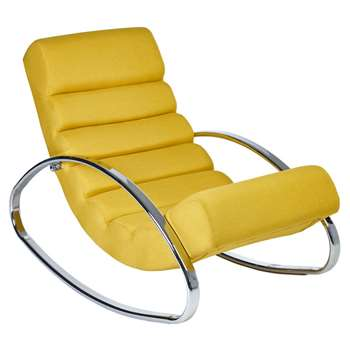 Ripple rocker with chrome legs mustard fabric (H70 x W62 x D108cm)