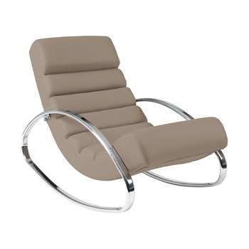 Ripple rocker with chrome legs stone (70 x 62cm)
