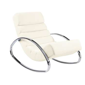 Ripple rocker with chrome legs white (70 x 62cm)