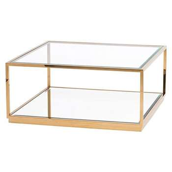 Rippon Brass Square Coffee Table (H40 x W90 x D90cm)