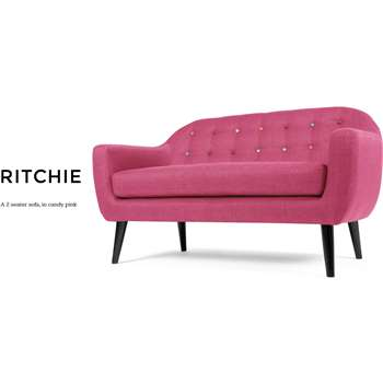 Ritchie 2 Seater Sofa, Candy Pink with Rainbow Buttons (86 x 148cm)