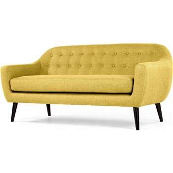 Ritchie 3 Seater Sofa, Ochre Yellow (86 x 188cm)