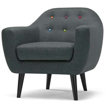 Ritchie Armchair, Anthracite Grey with Rainbow Buttons (86 x 83cm)