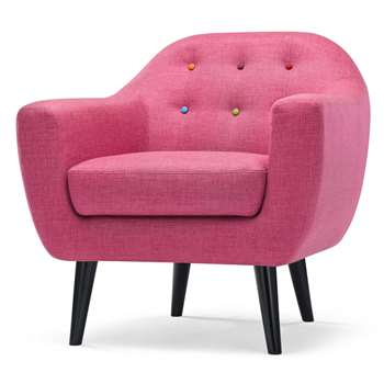 Ritchie Armchair, Candy Pink with Rainbow Buttons (86 x 83cm)