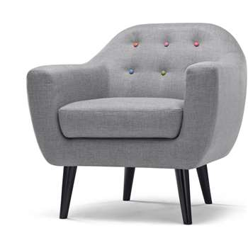 Ritchie Armchair, Pearl Grey with Rainbow Buttons (86 x 83cm)