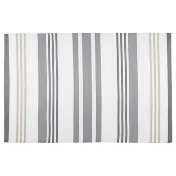 RIVAGE grey and white striped fabric outdoor rug (180 x 270cm)