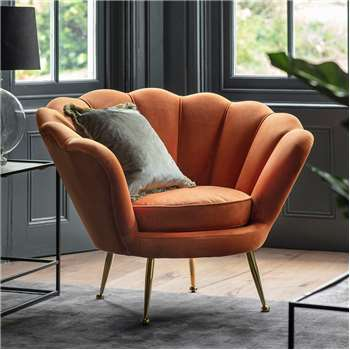 Rivello Velvet Chair - Orange (H80 x W93 x D80cm)