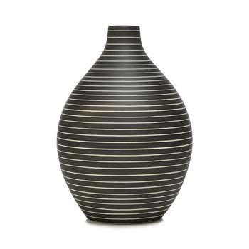 RJR.John Rocha Dark Grey Striped Bottle Vase, Black (24 x 20cm)