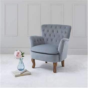 Roberta Tufted Chair - Light Blue Grey Velvet (H79 x W71.5 x D72.5cm)