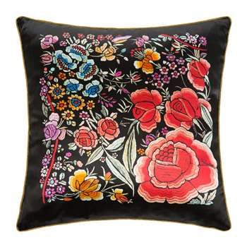 Roberto Cavalli - Enchanted Garden Silk Cushion - Red (H40 x W40cm)