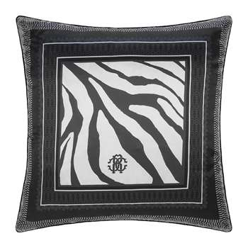 Roberto Cavalli - Frame Zebrage Silk Cushion - Blue (H60 x W60cm)