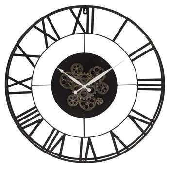 ROBY Perpetual Black Metal Cog Clock (Diameter 70cm)