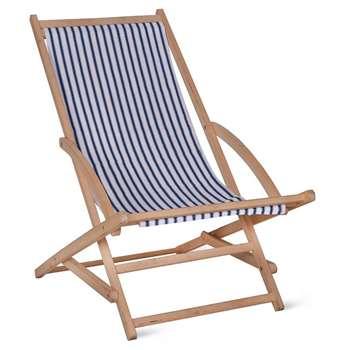 Rocking Deck Chair in Blue Stripe - Beech (86 x 56cm)