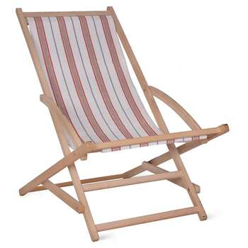 Rocking Deck Chair in Coral Stripe - Beech (86 x 56cm)