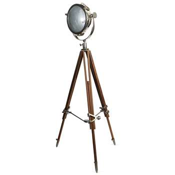 Rolls Industrial Headlamp with Natural Wood Tripod 157 x 90cm