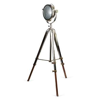 Rolls Industrial Headlamp with Polished Nickel and Wooden Tripod 161 x 77.5cm