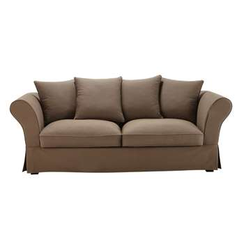 ROMA 3/4 seater cotton sofa bed in taupe (H88 x W225 x D94cm)