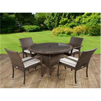 Roma 4 Rattan Garden Chairs and Small Round Table Set in Chocolate and Cream (72 x 105cm)