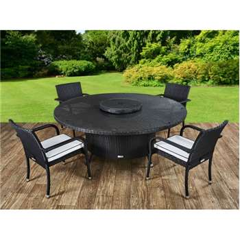 Roma 4 Rattan Garden Chairs, Large Round Table and Lazy Susan Set in Black and Vanilla (73 x 160cm)
