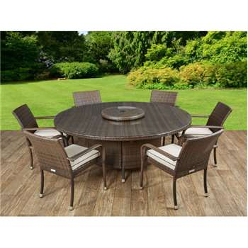 Roma 6 Rattan Garden Chairs, Large Round Table and Lazy Susan Set in Chocolate and Cream (73 x 160cm)