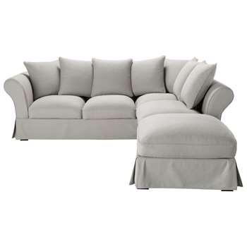 ROMA 6 seater cotton corner sofa bed in light grey (88 x 255cm)