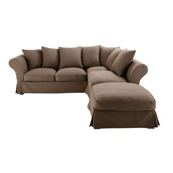 ROMA 6 seater cotton corner sofa bed in taupe (88 x 255cm)