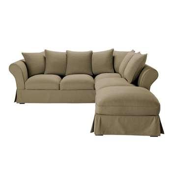 ROMA 6 seater cotton corner sofa in taupe (H88 x W255 x D261cm)