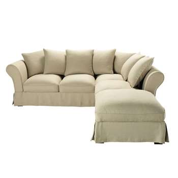 ROMA 6 seater linen corner sofa in beige (H88 x W255 x D261cm)