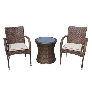 Roma Rattan Garden Bistro Round Set in Chocolate and Cream (56 x 54cm)